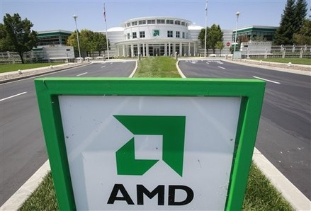 This photo made July 13, 2010, shows an entrance to the Advanced Micro Devices Inc. (AMD) headquarters in Sunnyvale, Calif. AMD, the world's No. 2 marker of the computer microprocessors, reports its second-quarter results Thursday, July 15 after the market closes. (AP Photo/Paul Sakuma)